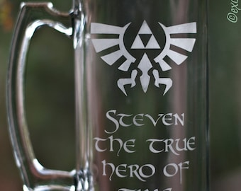 Legend of Zelda - PERSONALIZED - Hero of Time Etched Glass Mug 27 oz