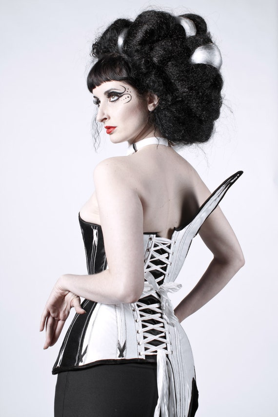 Asymmetrical Corset- Black and White Eco Luxury, Steel Boned Corset