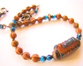 Beaded Raku Necklace // Ceramic and Sunstone Jewelry // Blue and Copper Choker // Gift for Her // Beaded Choker Necklace - BJ0019