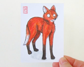 ACEO Maned Wolf - 'Fox on Stilts' - Archival Print