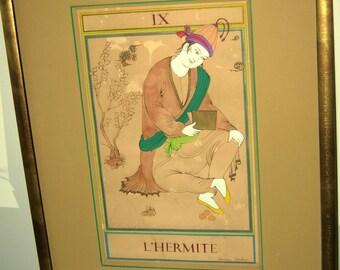 """Original Persian painting - Tarot card The Hermit- """"L'Hermite"""" Original painting with frame/The Hermit tarot card-Tarot card"""