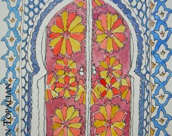 Original watercolor Moroccan door - oriental watercolor
