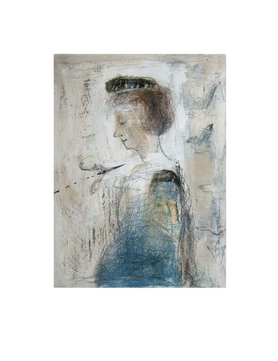 acrylic painting woman ( print)  FRANCESCA figurative portrait