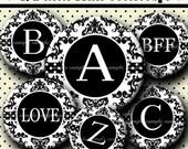 INSTANT DOWNLOAD Black And White Damask Alphabet (464) 4x6 Digital Collage Sheet 1/2 half inch (0.5 inch size) mini bottle cap images