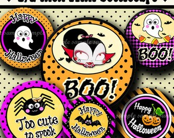 INSTANT DOWNLOAD Happy Halloween (322) 4x6 Digital Collage Sheet 1/2 half inch ( 0.5 inch size ) mini bottle cap images glass tiles ....