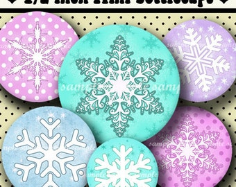 INSTANT DOWNLOAD Cutie Snowflakes (329) 4x6 Digital Collage Sheet 1/2 half inch ( 0.5 inch size )  mini bottle cap images glass tiles  ....