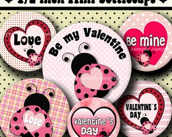 INSTANT DOWNLOAD Lady Bug Valentine s Day (338) 4x6 Digital Collage Sheet 1/2 half inch (0.5 inch size )  mini bottle cap images glass tiles