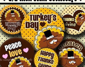 INSTANT DOWNLOAD Happy Turkey Day (339) 4x6 Digital Collage Sheet 1/2 half inch ( 0.5 inch size )  mini bottle cap images resin glass tiles