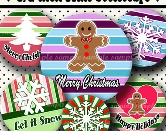 INSTANT DOWNLOAD Christmas Designs (347) 4x6 Digital Collage Sheet 1/2 half inch ( 0.5 inch size ) mini bottle cap images glass tiles ...