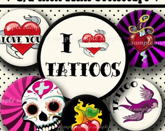 INSTANT DOWNLOAD Tattoo Designs (370) 4x6 Digital Collage Sheet 1/2 half inch ( 0.5 inch size ) mini bottle cap images resin pendants