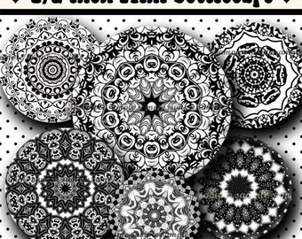 INSTANT DOWNLOAD Black And White Mandalas (465) 4x6 Digital Collage Sheet 1/2 half inch ( 0.5 inch size ) mini bottle cap images glass tiles