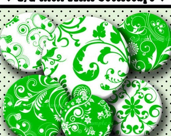 INSTANT DOWNLOAD Green Floral Designs (485) 4x6 Digital Collage Sheet 1/2 half inch ( 0.5 inch size )  mini bottle cap images