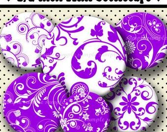 INSTANT DOWNLOAD Purple Floral (488) 4x6 Digital Collage Sheet 1/2 half inch ( 0.5 inch size )  mini bottle cap images resin pendants ....