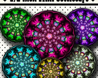 INSTANT DOWNLOAD Fractal Flowers (495) 4x6 Digital Collage Sheet 1/2 half inch ( 0.5 inch size ) mini bottle cap images glass tiles