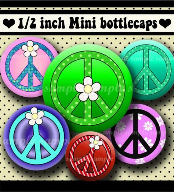 INSTANT DOWNLOAD Peace Symbols (234) 4x6 Digital Collage Sheet 1/2 half inch ( 0.5 inch size )  mini bottle cap images glass tiles ..