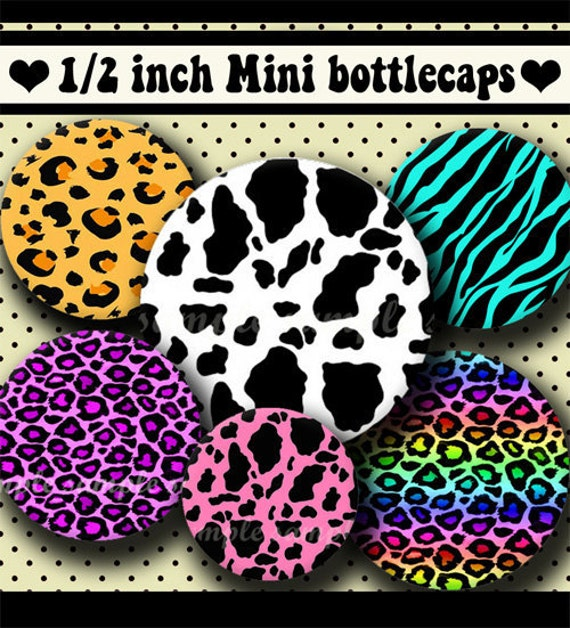 INSTANT DOWNLOAD Colorful Animal Prints (235) 4x6 Digital Collage Sheet 1/2 half inch ( 0.5 inch size ) mini bottle cap images resin ..