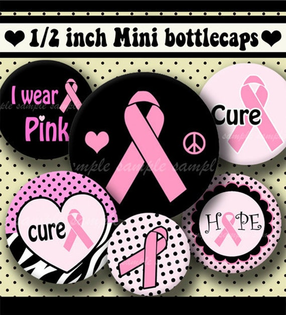 INSTANT DOWNLOAD Breast Cancer Pink Ribbons (328) 4x6 Digital Collage Sheet 1/2 half inch (0.5 inch size) mini bottle cap images glass tiles