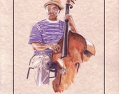 """New Orleans, Jazz Musician Playing Double bass, Original Watercolor on Parchment Paper. 8.5x11"""", Free Shipping in USA."""