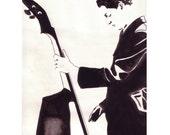 Jazz Man, Contrebasse double Bass, Musician,Graffiti Black White,Orchestra Original illustration Artist Print Wall Art,Free Shipping in USA.