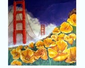 Hello San Francisco, Some Red, Blue, Yellow, and White, Original illustration Artist Print Wall Art, Free Shipping in USA.
