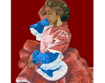 Red Flamenco, Spain Dressed up Gypsy Woman Dancing, Original illustration Artist Print Wall Art, Free Shipping in USA.