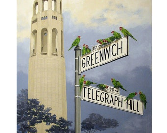 Birds, The Wild Parrots of Telegraph Hill, San Francisco, Coit tower, Red masked Parakeet,Original Artist Print, Free Shipping in USA.
