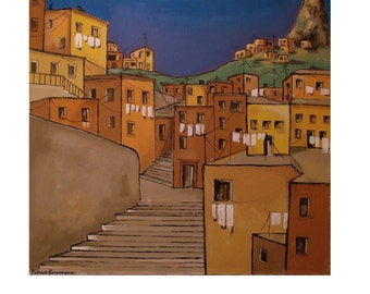 STREET, Colorful Stair Street, hanged Laundry, South America RIO Brazil Brown, original illustration Artist Print, Free Shipping in USA.