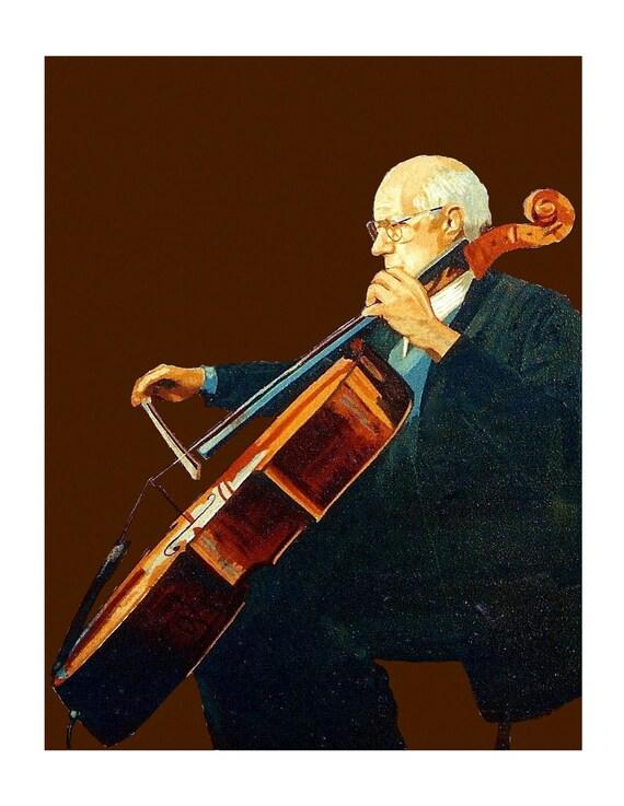 Violoncellist Rostropovich Musician Back-lighting Brown Cello Instrument, Original illustration Artist Print Wall Art, Free Shipping in USA.