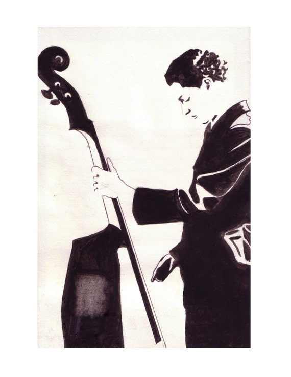 Jazz Man, Contrebasse double Bass, Musician,Graffiti Black White,Orchestra Original illustration Artist Print Wall Art,Free Shipping in USA.