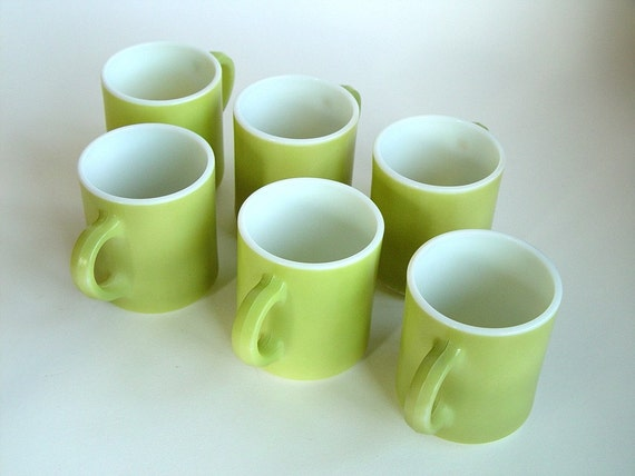 Milk Glass Coffee Cups Enameled Green Lime Slush Set Of 6