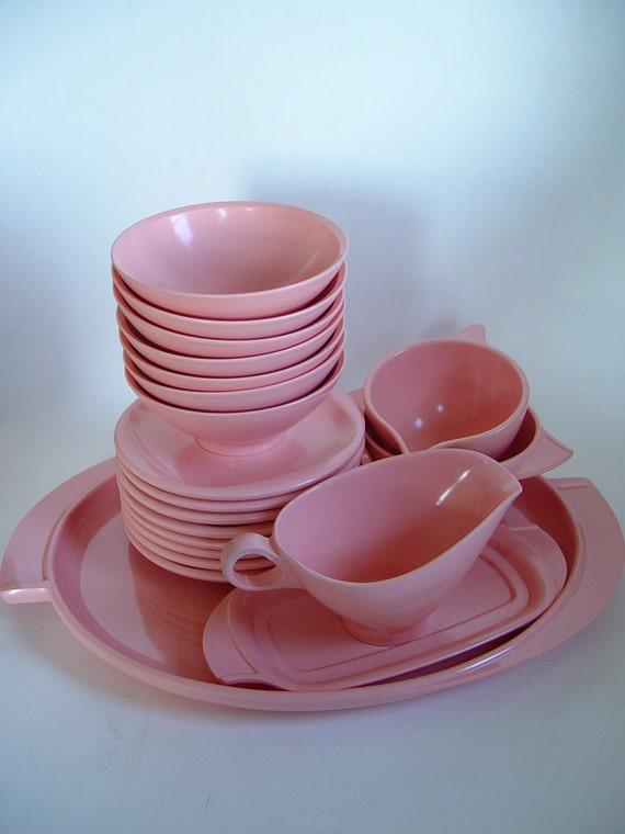 Vintage Boontonware Melmac Bubble Gum Pink 20 Piece Set Platter Bowls Serving 1950s Mid Century Modern Dinnerware Housewares