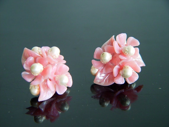 1950's Womens Cluster Earrings Pink Petals and Pearls West Germany Thermoset Lucite Plastic Womens Vintage Costume Jewelry