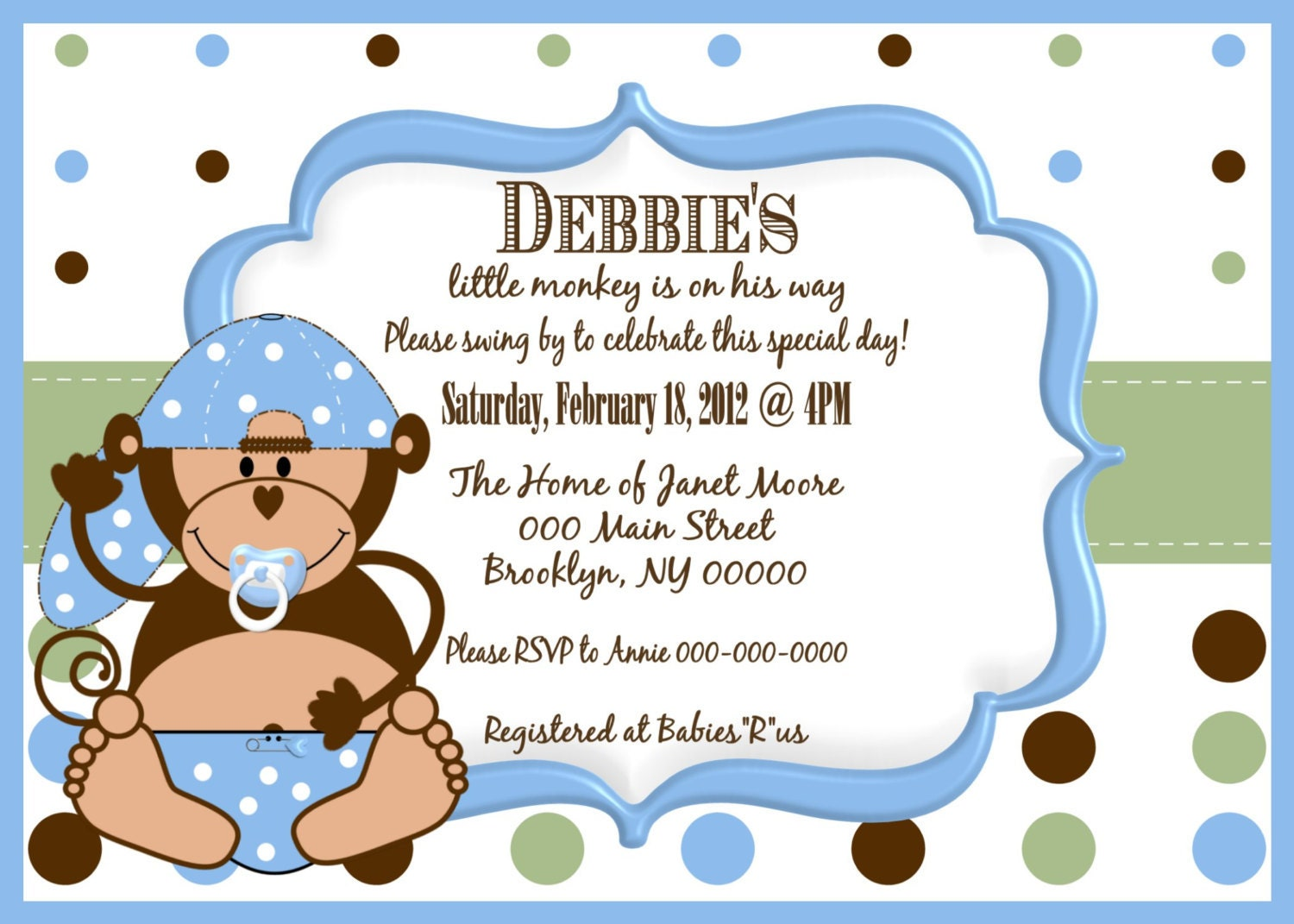 Baby Shower Boy Monkey ~ Little monkey boy baby shower invitation