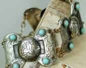 Vintage Silver Toned Turquoise Bracelet