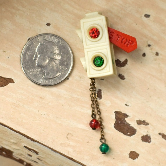 Reserved For Ayako - Vintage Celluloid Stoplight Brooch