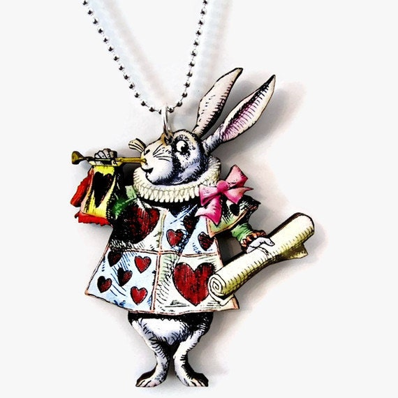 Clearance Sale Alice in Wonderland Necklace The White Rabbit