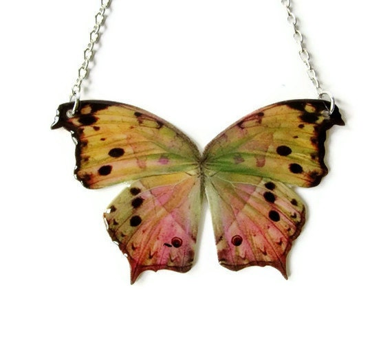 Large Butterfly Statement Necklace Fairy Wings Customize Pink Pastel Green Yellow Spring Summer Fashion