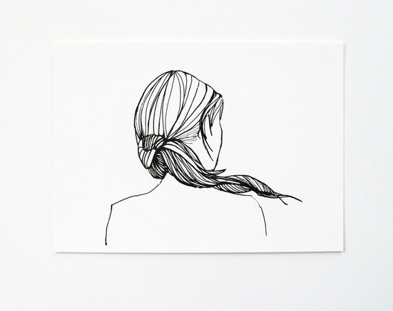 Ponytail girl - 5x7 print