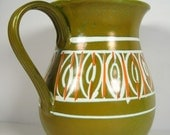 Mid Century Orange Green Pitcher Vase Italy