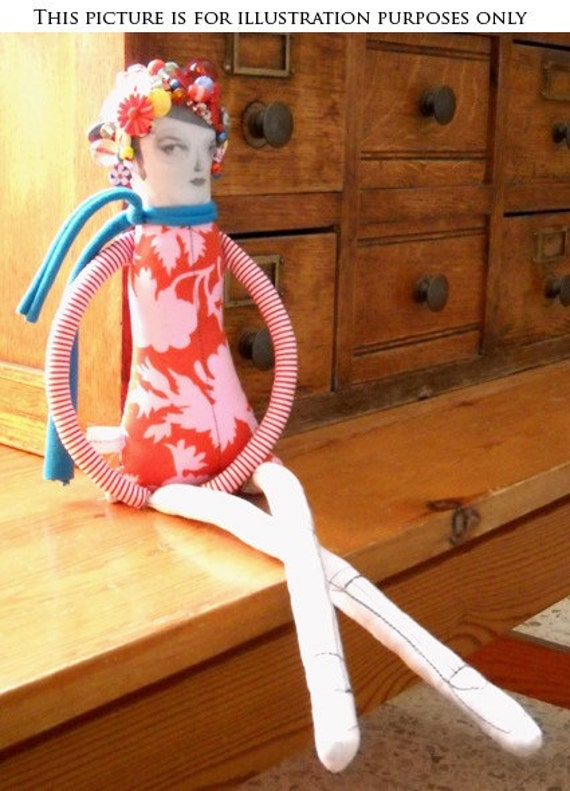 Beaded doll , Unique doll , textile doll , soft doll , gift for women , decorative doll , art quirky doll , room decor , whimsical doll