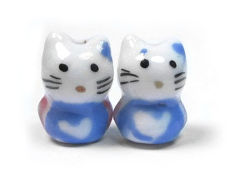 Handcrafted Porcelain Adorable Kitty  Beads/ Charms, Qty 2