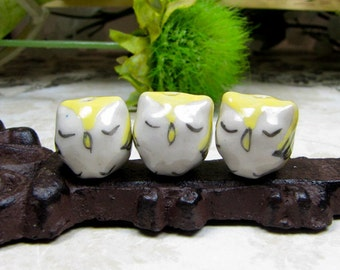 Handcrafted Porcelain Owls Beads/ Charms, Qty 3