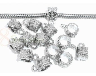 Bright Silver Plated Filigree  Bails, Qty.10