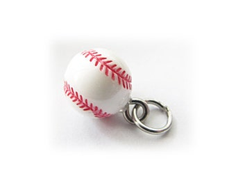 3-D Hand Painted Resin Baseball Charm, Qty 1
