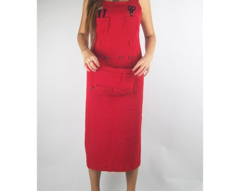 WoozWass Vintage Red Suspender Pencil Skirt