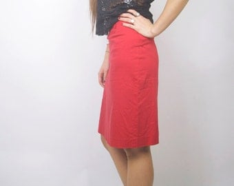 WoozWass Vintage 1990s Cotton Stretchy Scarlet Red High waisted knee long skirt size S,S-M