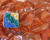 Contemporary sterling silver ring with amber, malachite and lapis lazuli mosaic made to order