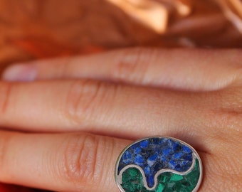 Contemporary sterling silver ring with lapiz lazuli & malachite mosaic made to order