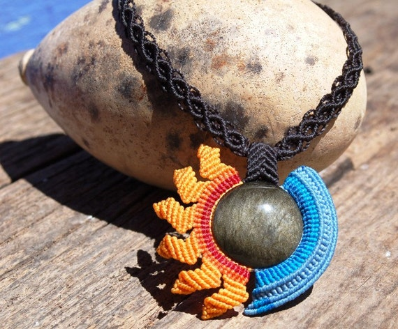 Custom order for Sophia SUN & MOON necklace with silver sheen obsidian stone, handmade fiber necklace by ARUMIdesign