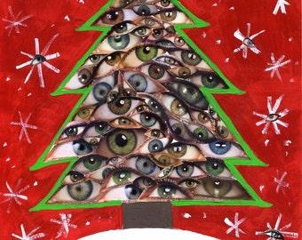 Christmas Tree Collage Card, 5x7 Blank Xmas Greeting Card, Weird Strange Odd Unusual Bizarre Holiday Card